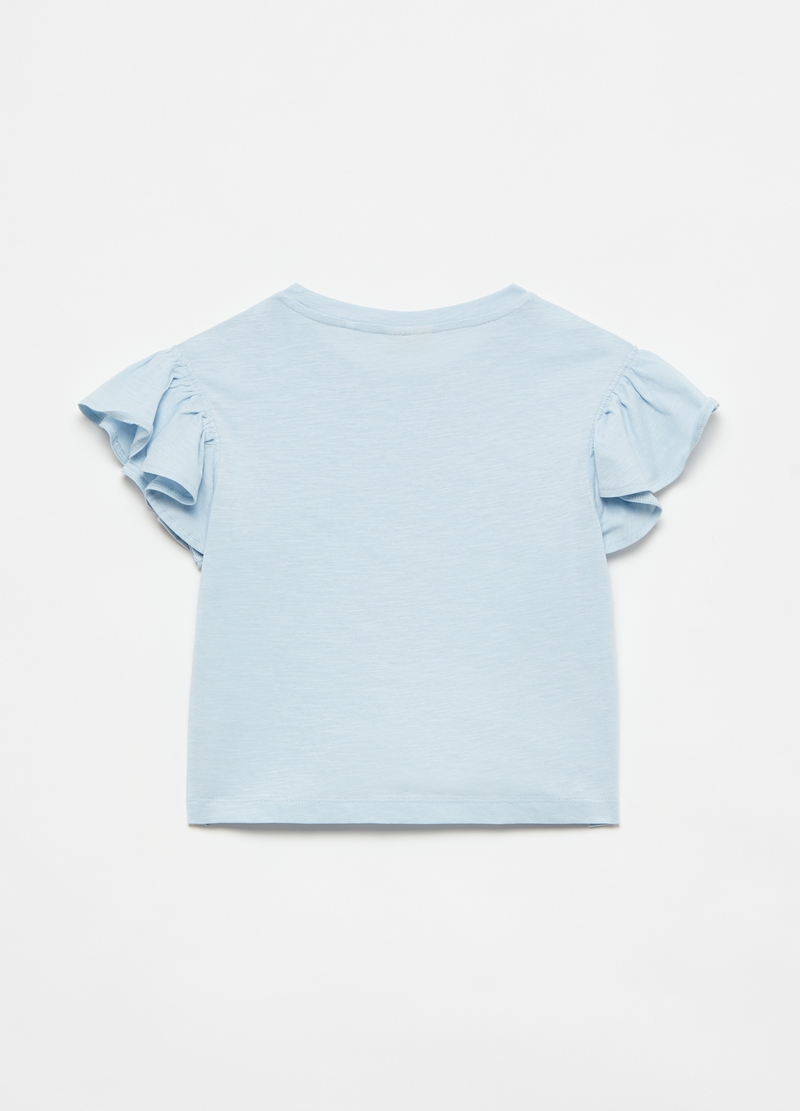 Cotton T-shirt with flounced sleeves image number null