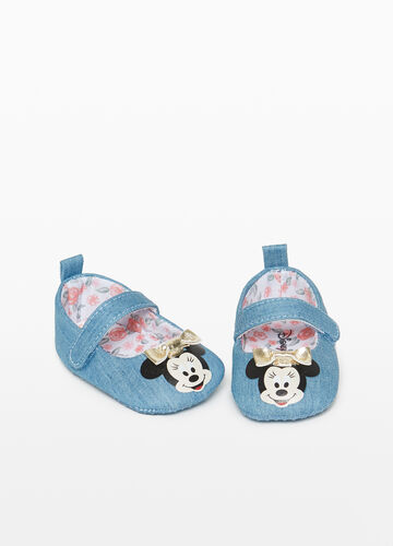 Denim ballerina flats with Minnie Mouse print