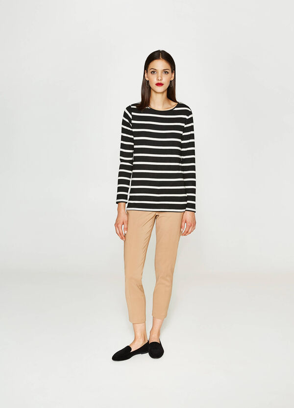 Stretch viscose T-shirt with stripes | OVS
