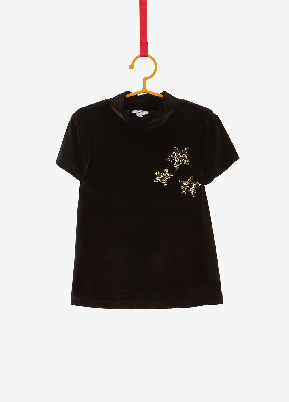 T-shirt collo alto paillettes stelle