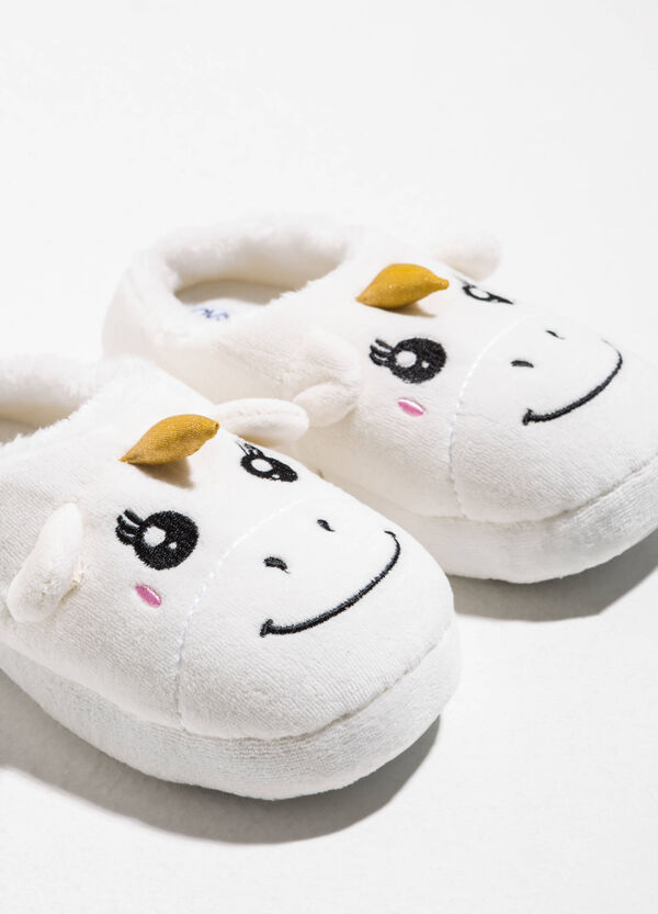 Faux fur slippers with unicorn embroidery | OVS