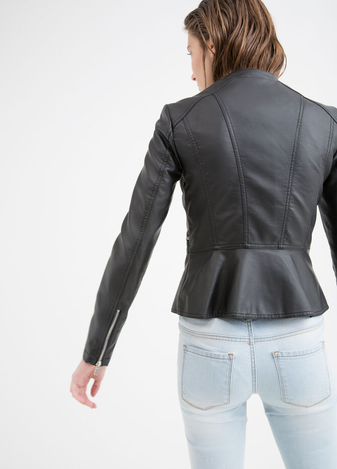 Solid colour leather look jacket