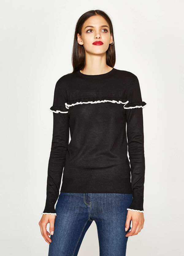 Viscose pullover with striped flounce | OVS