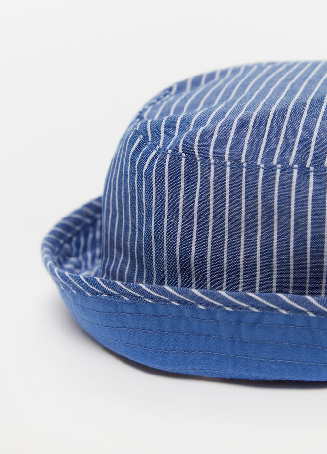 Striped cotton fishing hat