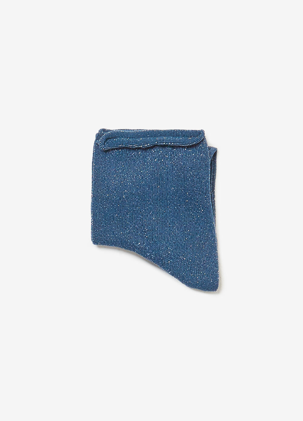 Short socks with rolled lurex edge