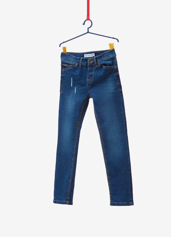 Worn-effect straight-fit stretch jeans