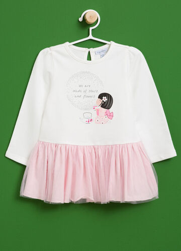Cotton dress with glitter print and tulle