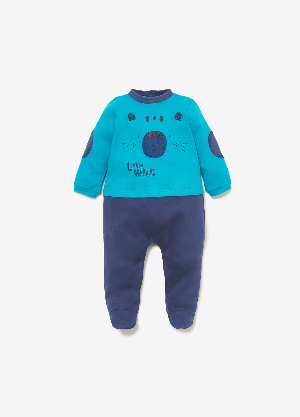 Two-tone cotton romper suit with animals