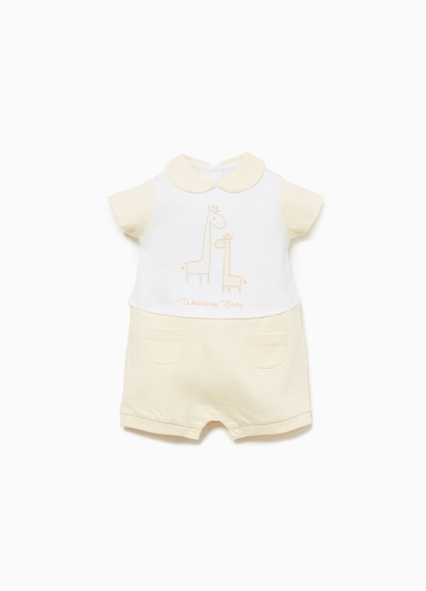 100% cotton romper suit with giraffe