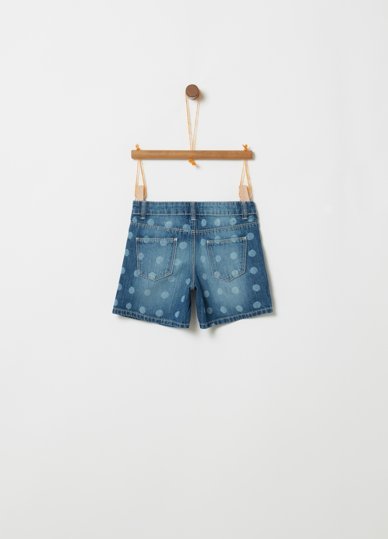 Shorts in denim fantasia a pois image number null