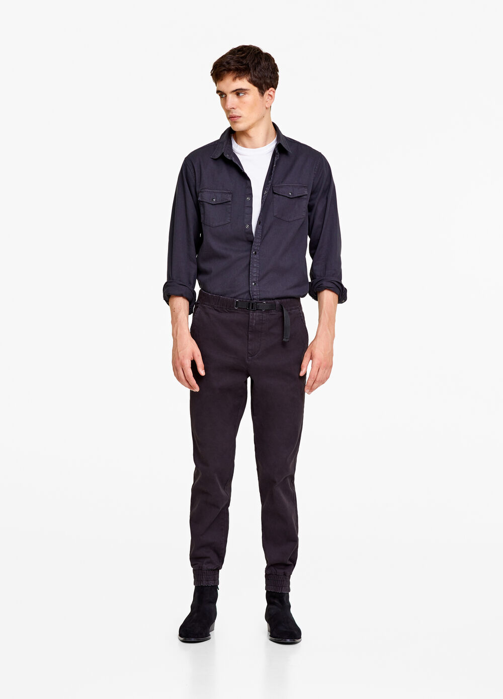 Slim-fit trousers with belt
