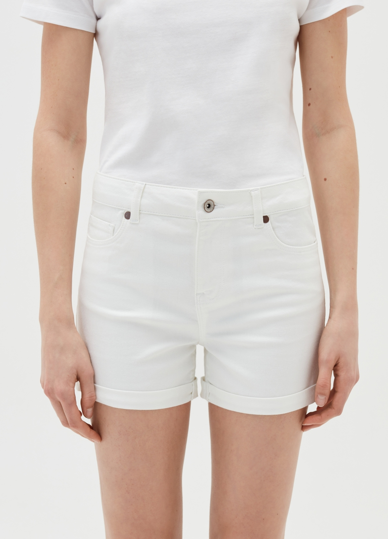 Denim shorts with turn-up hems image number null