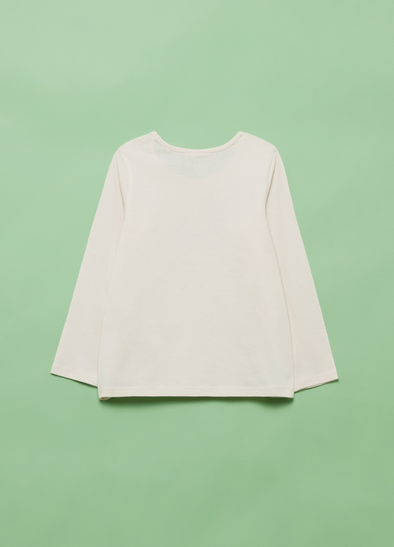 T-shirt puro cotone stampa stelle glitter image number null