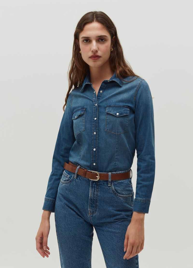 Denim shirt with mother-of-pearl effect buttons image number null
