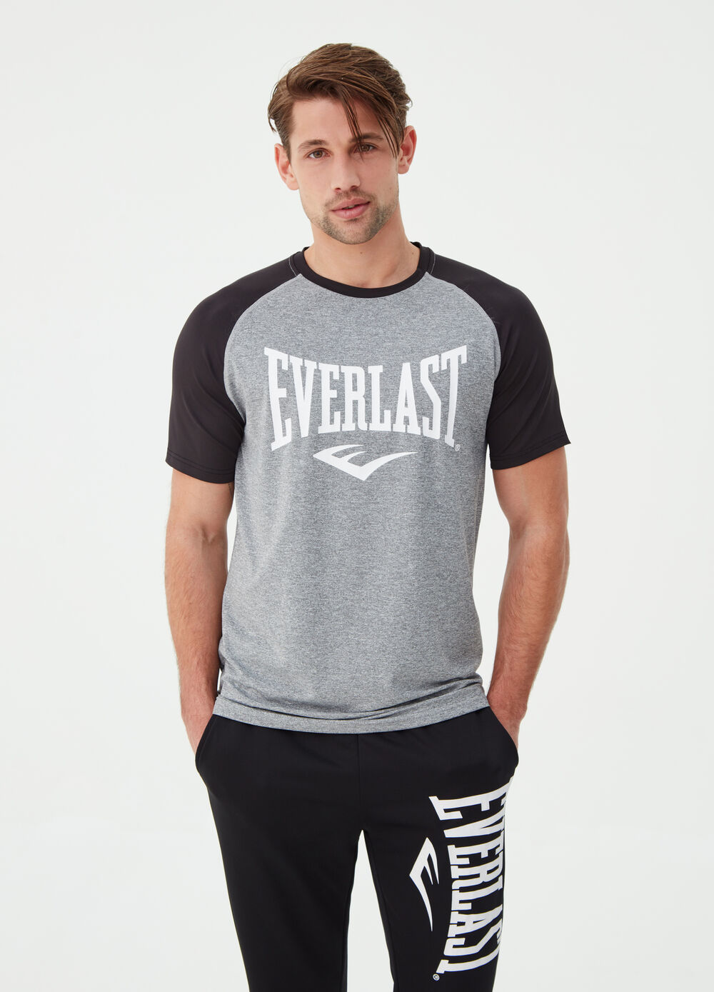 Everlast stretch T-shirt with contrasting sleeves