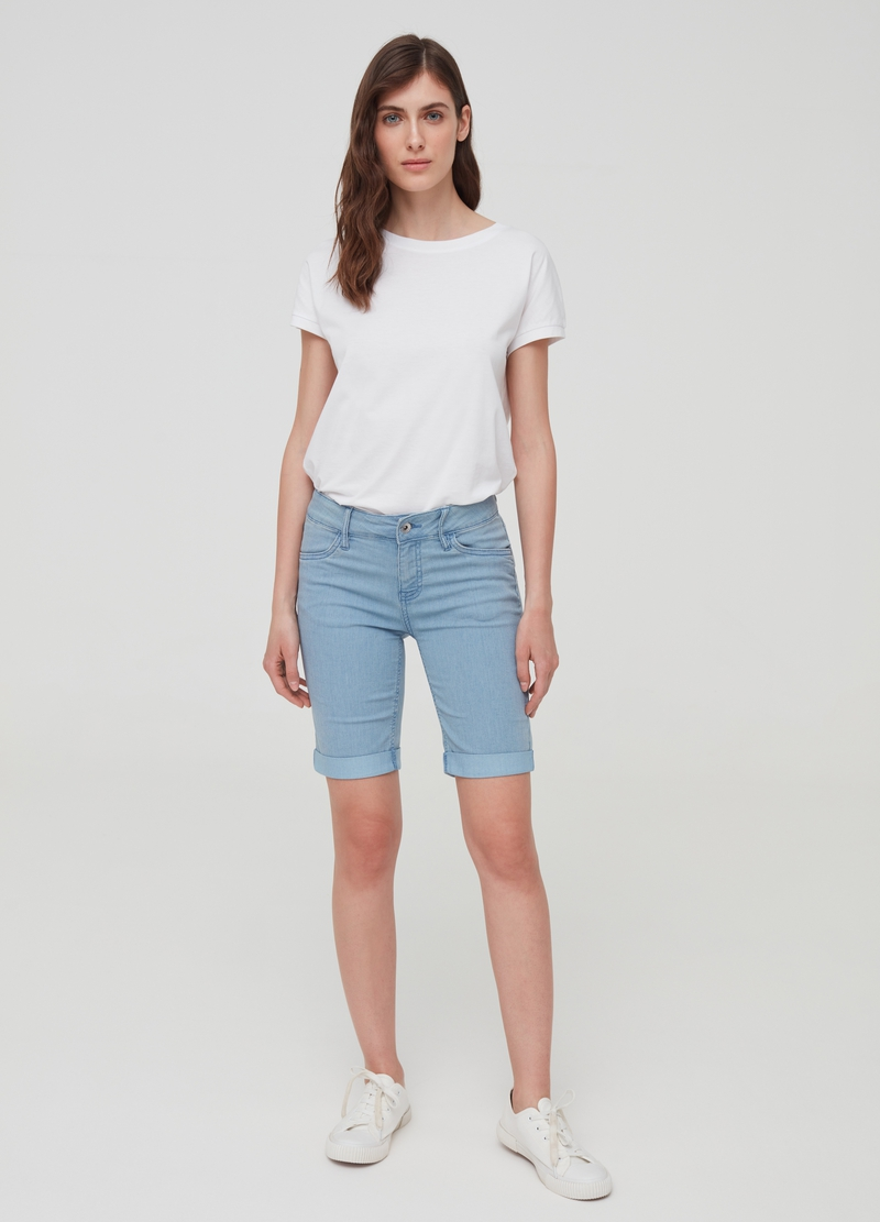 Denim Bermuda shorts with striped weave image number null