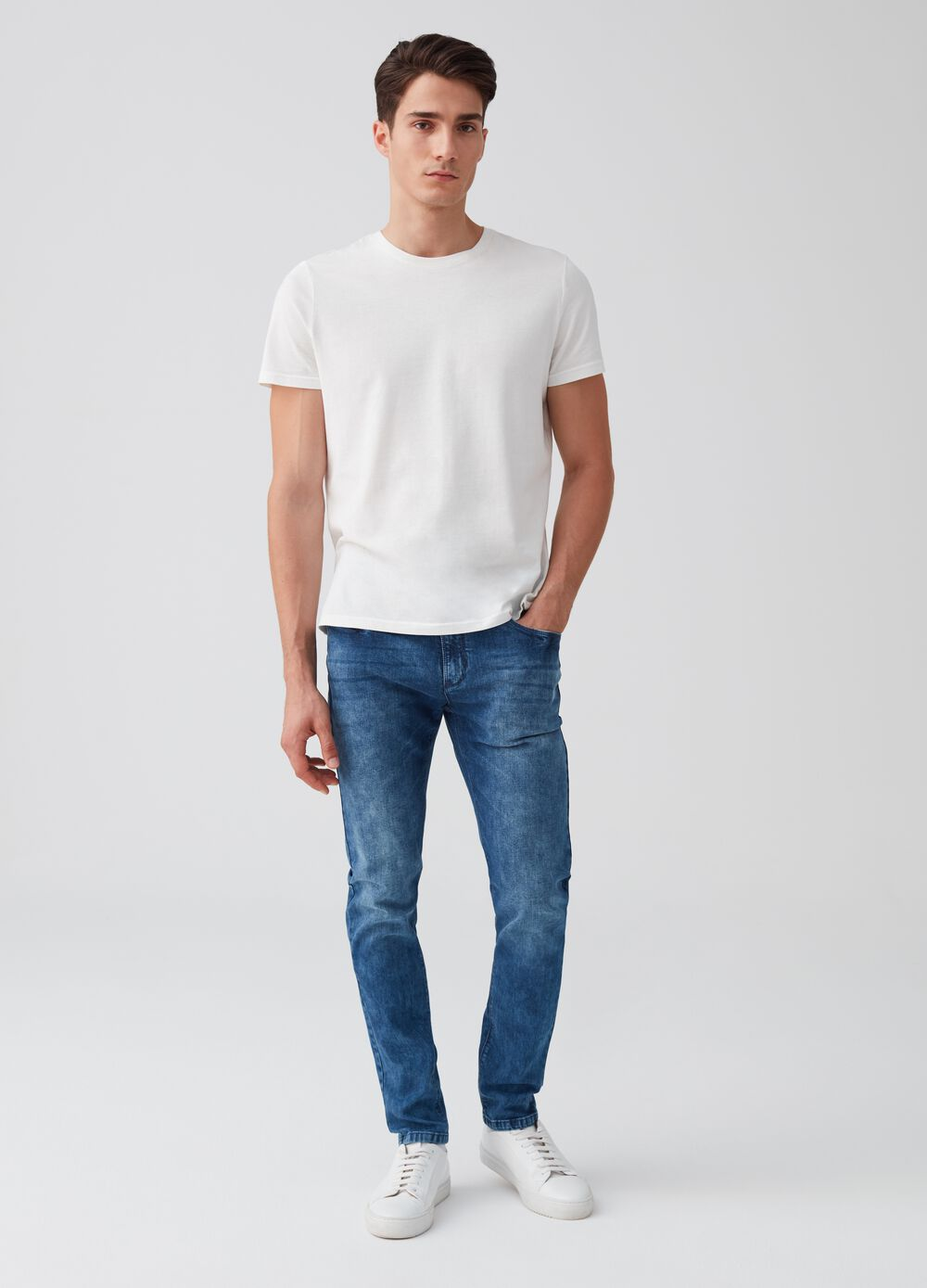Mis-dyed effect skinny-fit stretch jeans