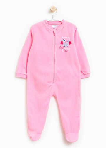 Solid colour sleep suit with embroidery