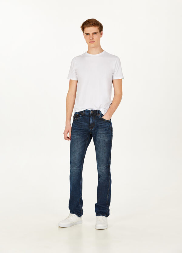 Worn-effect regular-fit jeans with whiskering