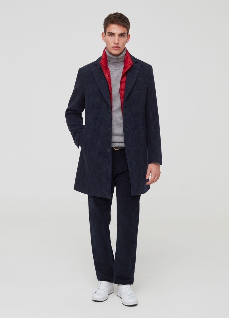 Wool blend coat with lapels and pattern image number null