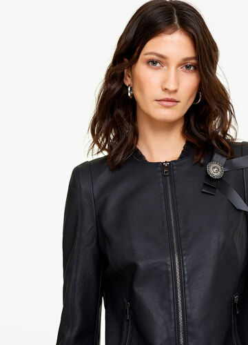 Leather-look jacket with bow