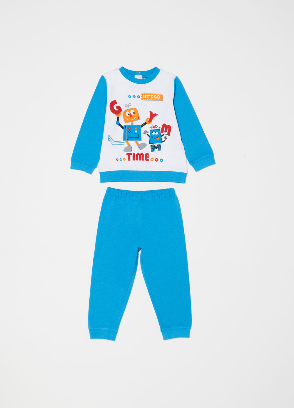 Two-tone pyjamas in 100% cotton with robot
