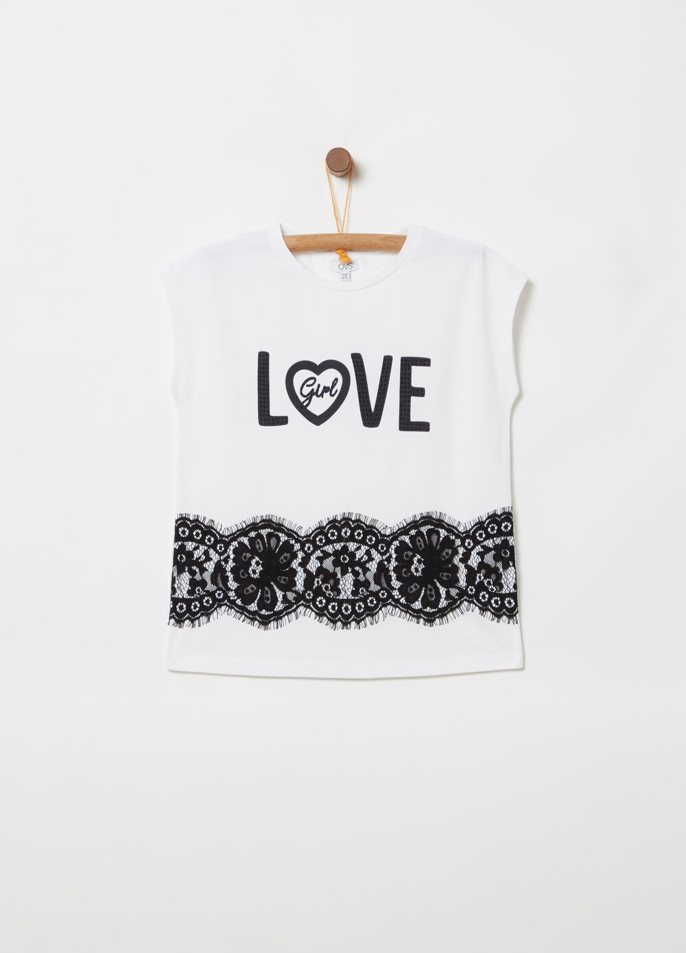 T-shirt with cap sleeves and floral lace