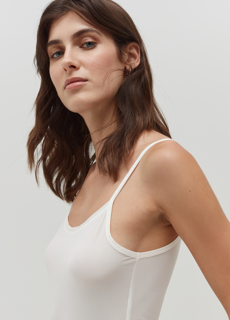 Microfibre vest with spaghetti straps. image number null