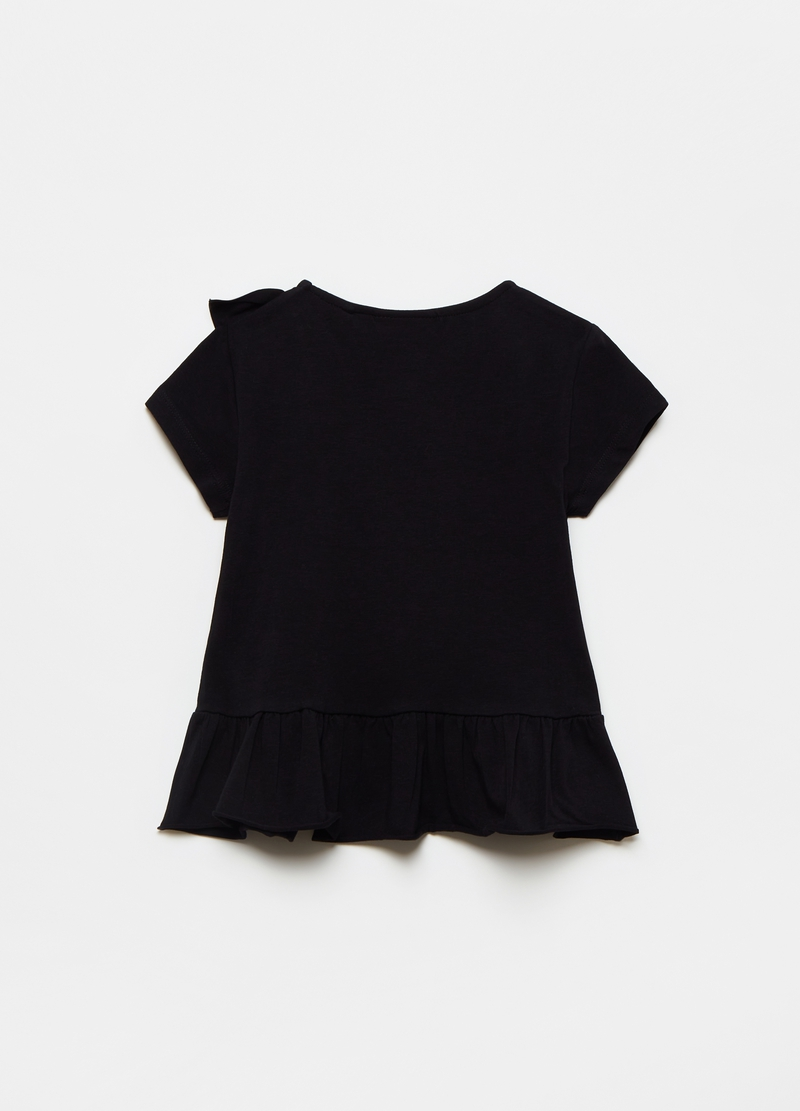 Stretch cotton T-shirt with ruffles image number null