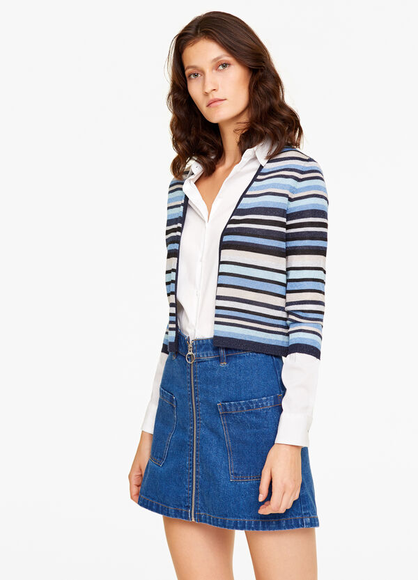 Cardigan with striped patterned with lurex