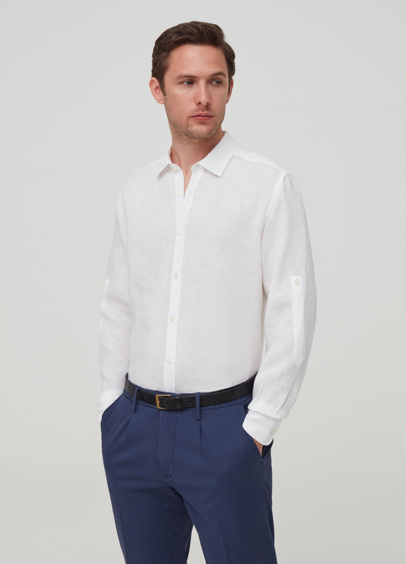 100% linen shirt with bluff collar image number null