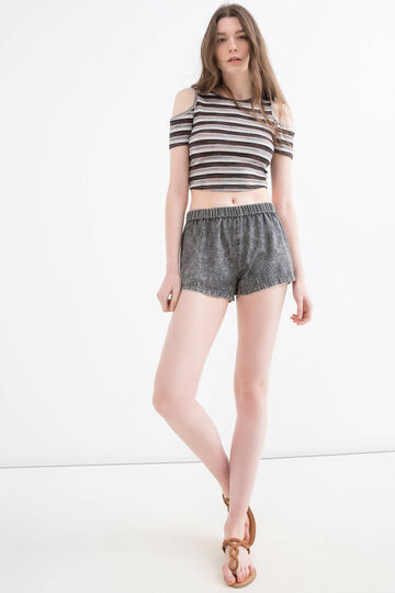Regular fit denim shorts with mis-dyed effect
