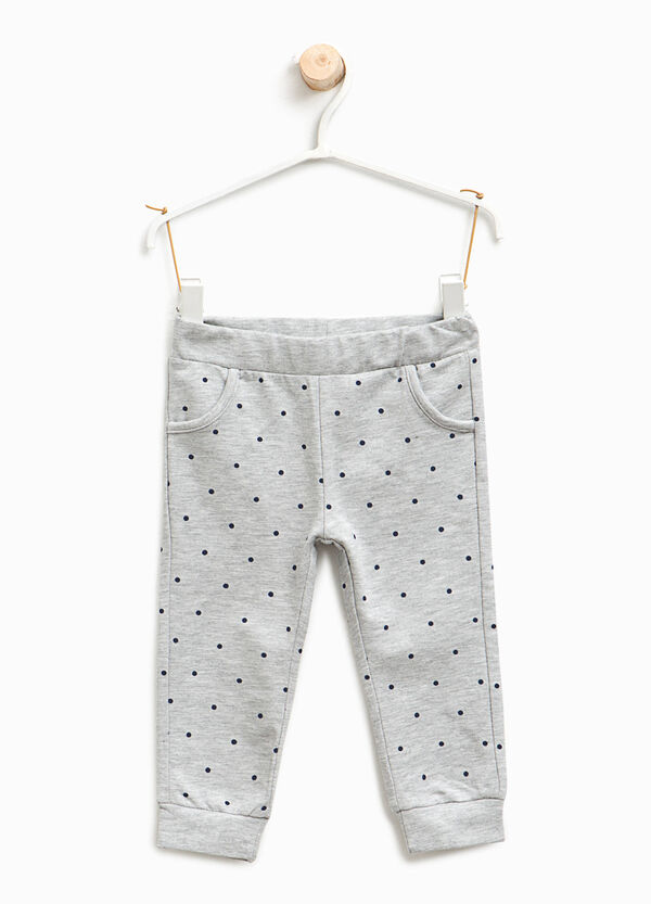 Polka dot stretch cotton trousers