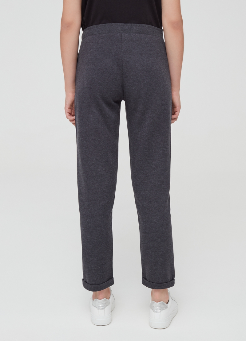 Mélange fleece trousers with fold image number null