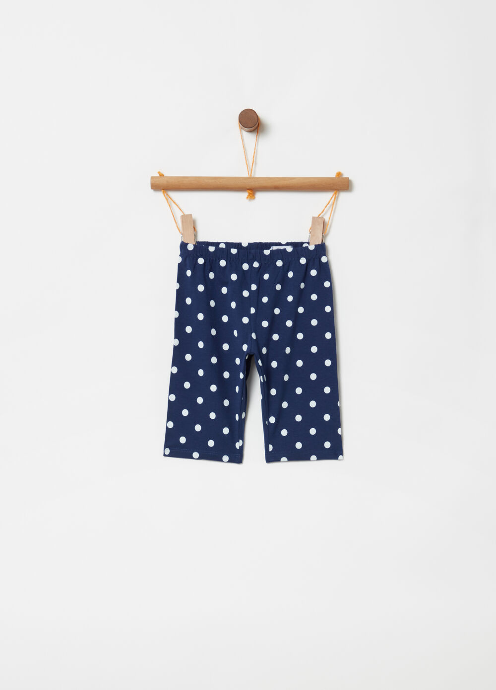 Leggings with elasticated waist and polka dot pattern
