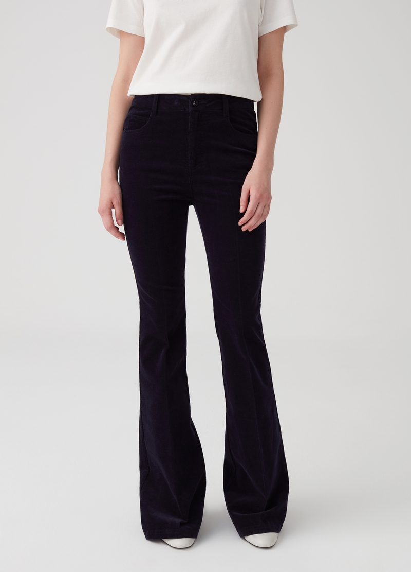 Pantalone boot cut in velluto image number null