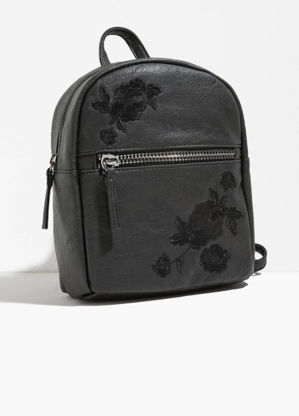 Textured-effect backpack with embroidery | OVS