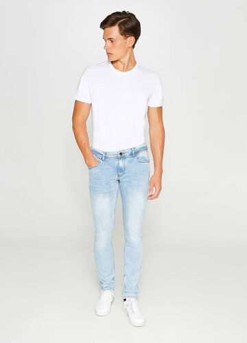 Washed-effect skinny-fit stretch jeans