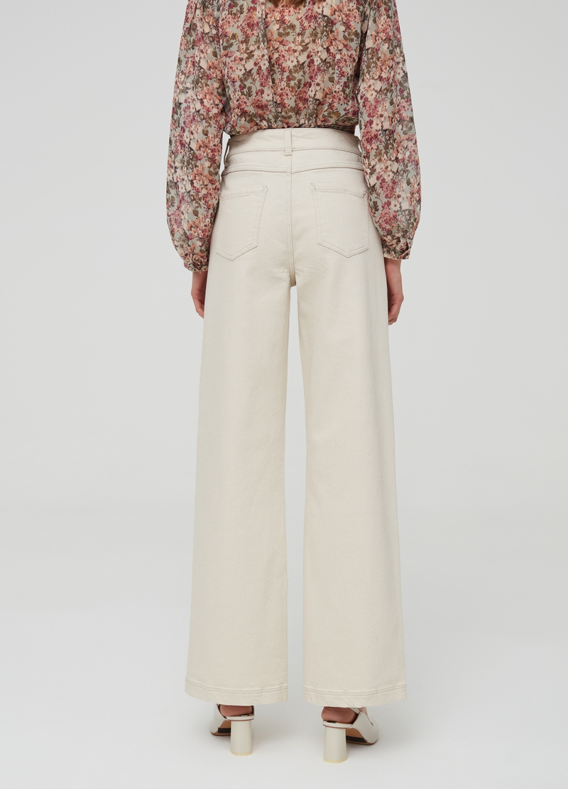 Wide-fit trousers in stretch cotton image number null