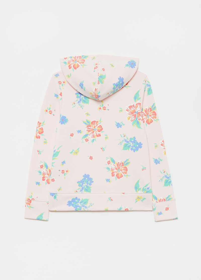 GAP sweatshirt with hood and floral print image number null