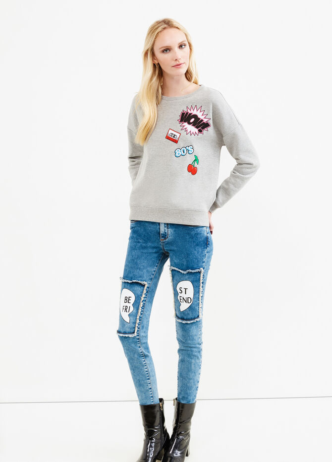 Jeans stretch con toppe