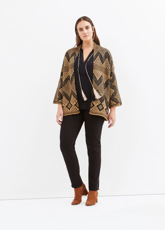 Curvy wool blend patterned cardigan