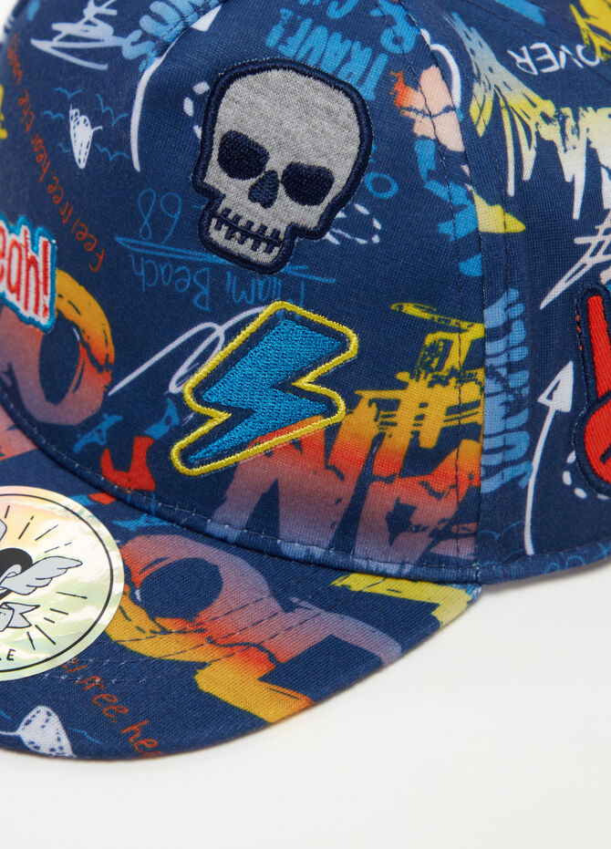 Baseball cap with patch and pattern