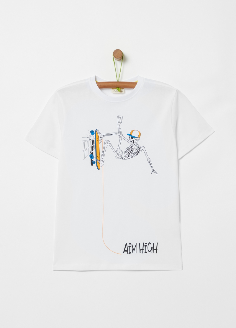 T-shirt with skeleton with skateboard print image number null
