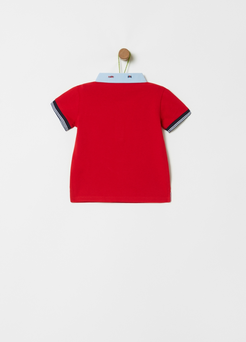 Organic cotton polo shirt with cars print image number null