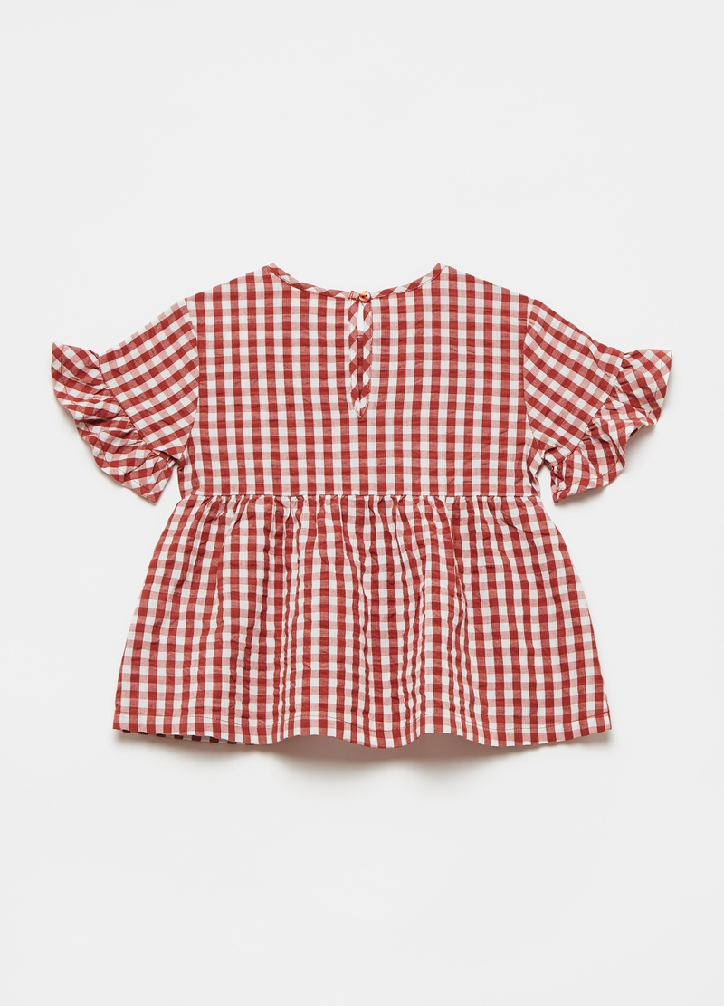 Seersucker blouse with frills and flounce image number null