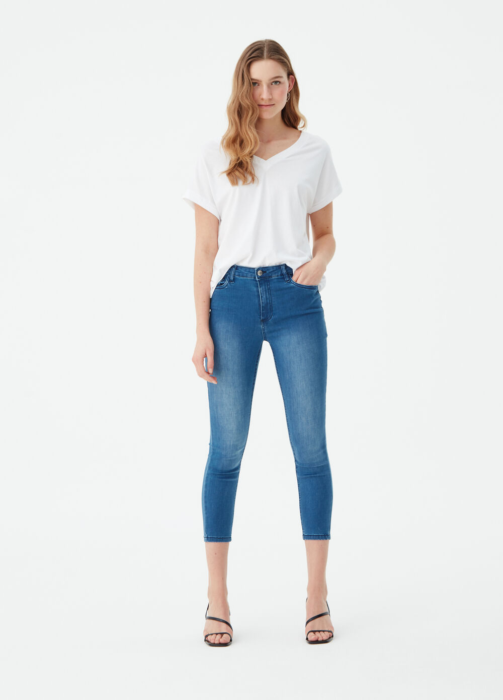 Jeans superskinny fit a vita alta
