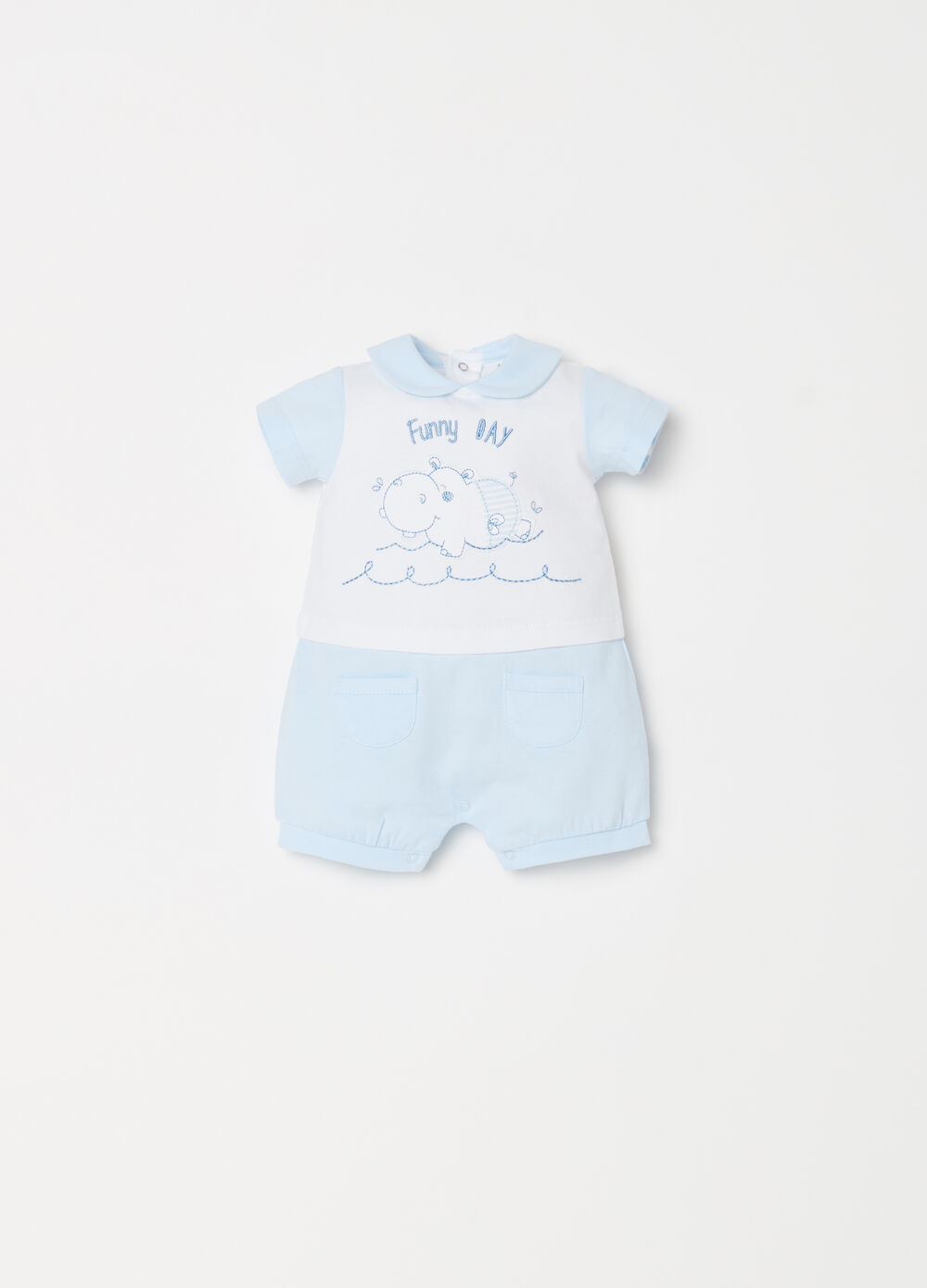 Short BCI onesie in jersey with hippo