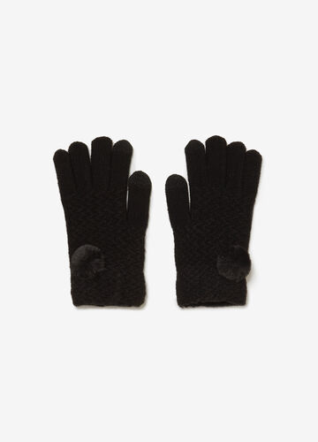 Knitted gloves with weave and pompoms
