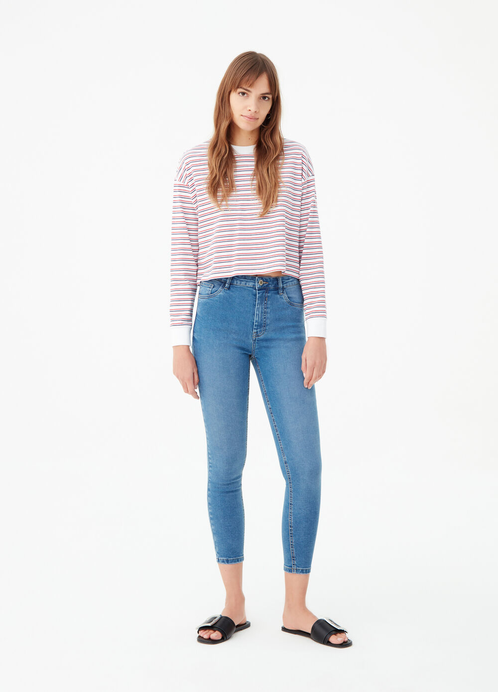 Superskinny-fit stretch jeans with high waist